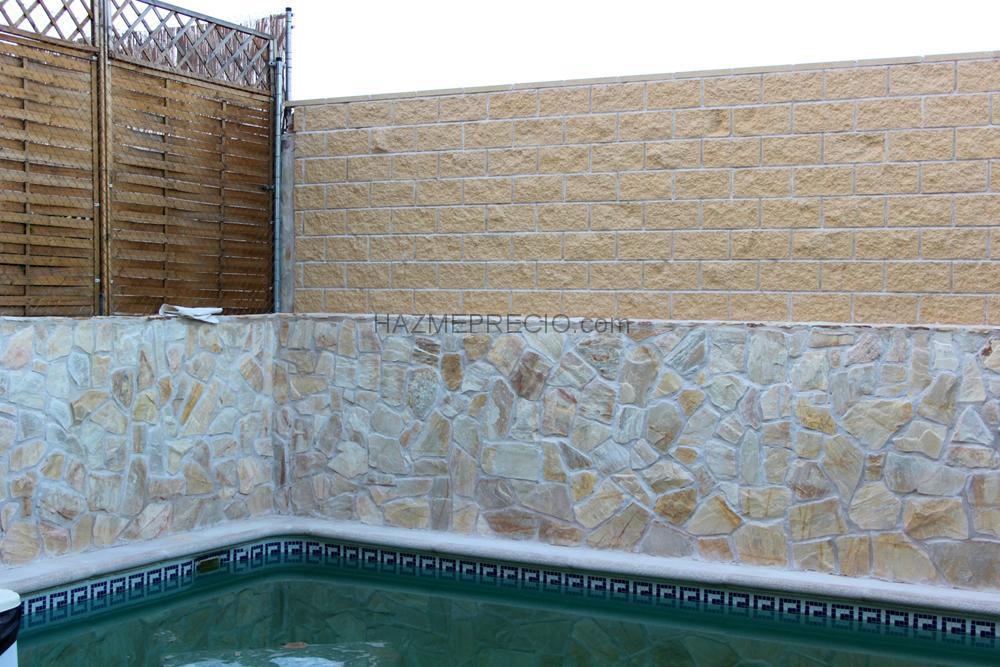 Construccion de muro con bloques de hormigon chapado - Muros de piedra construccion ...