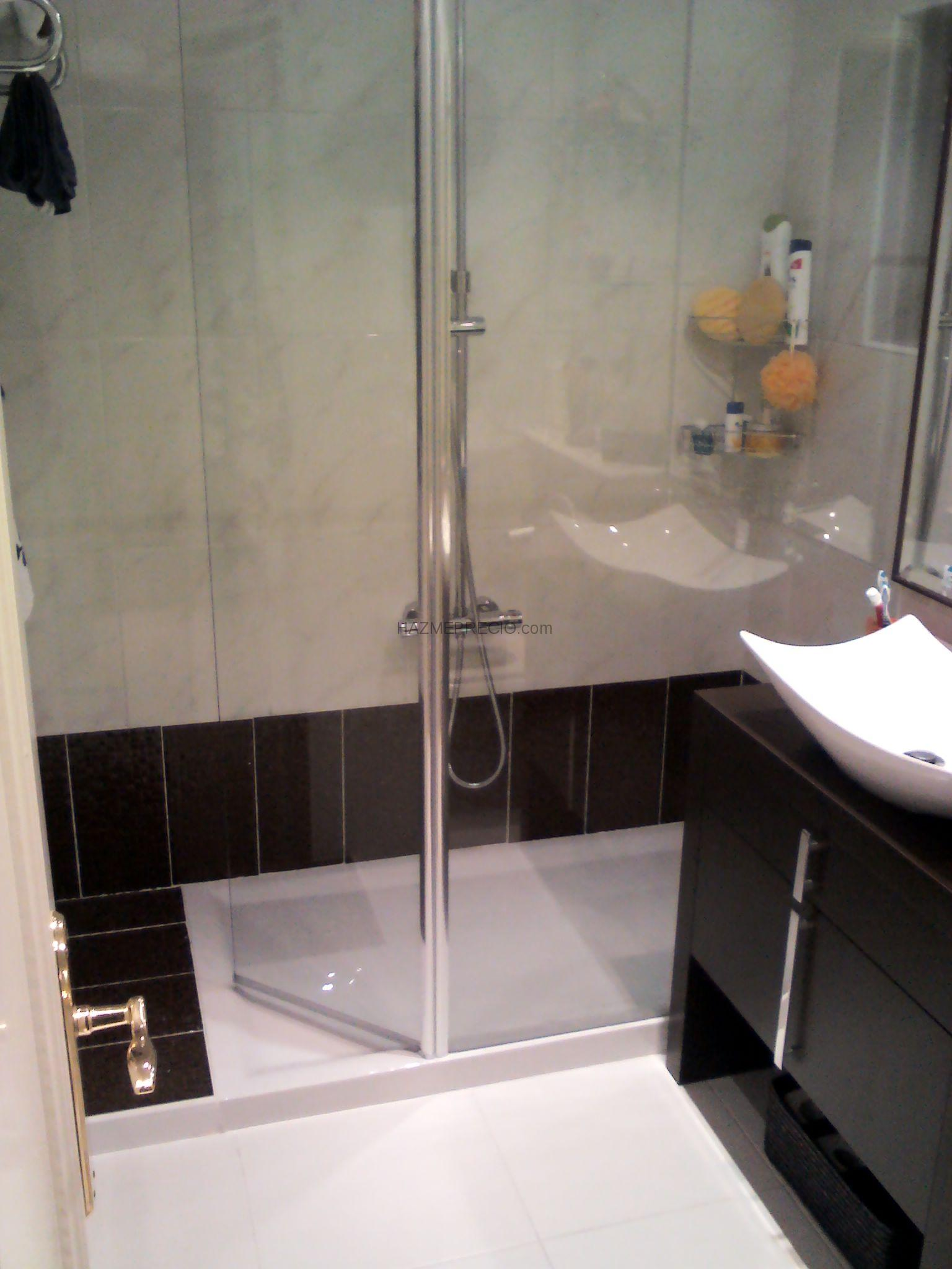 Baños Con Ducha Reformados: plato de ducha: colocacion de mampara y mueble a juego con el azulejo
