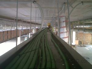 Tendido de cable de 150mm2  libre de halogenos, por bandeja de 600x60, con embridado a bandeja`perforada. instalacion desde cuadro general a subcuadros de planta
