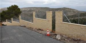 Construccion de muro con bloques de hormigon 40/20/20cm./split-amarillos/