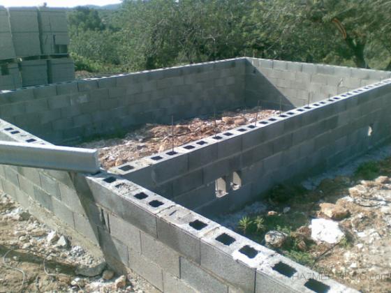 Muro para forjado  sanitario casa de madera