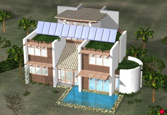 Boceto de vivienda vioclimatica independiente.