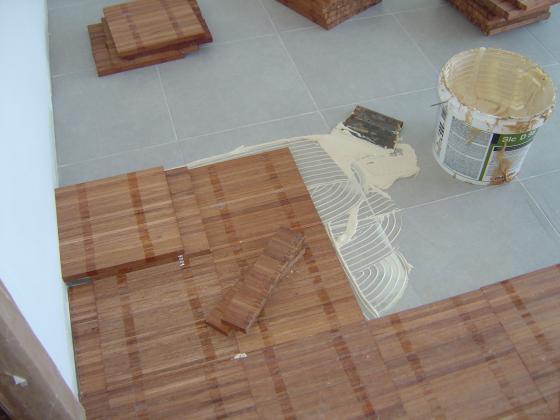 Instalación de parquet industrial de jatoba