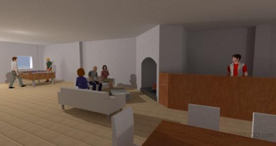 Imagen 3D interior para propuesta inicial. Carrión de los Céspedes, Sevilla.
