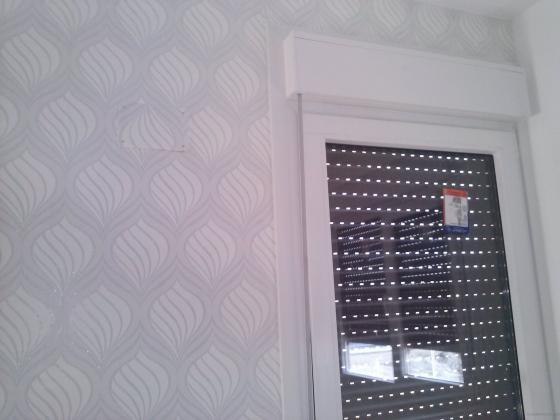 colocacion de papel en pared ppal de salon