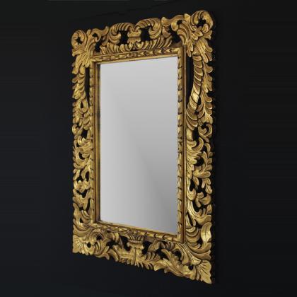 Espejo decorativo barroco en madera natural tallado artesanalmente 90x120 rectangular . Precio 150€