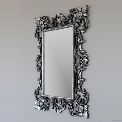 Espejo barroco en madera natural tallada de forma artesanal acabado en plata. 90x120  precio 150€ en www.decolomas.com