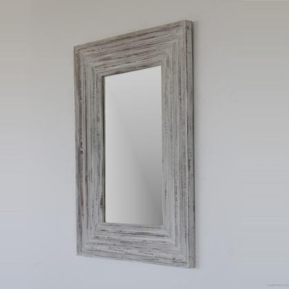 Espejo decorativo en blanco decapado y estilo rustico rectangular 70x100 precio 80€