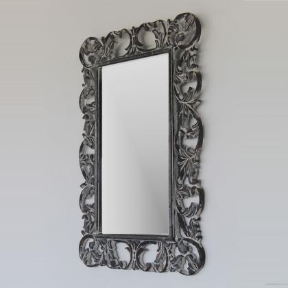 Espejo decorativo estilo romantico en gris decapado , 70x100 rectangular. Su precio 85€