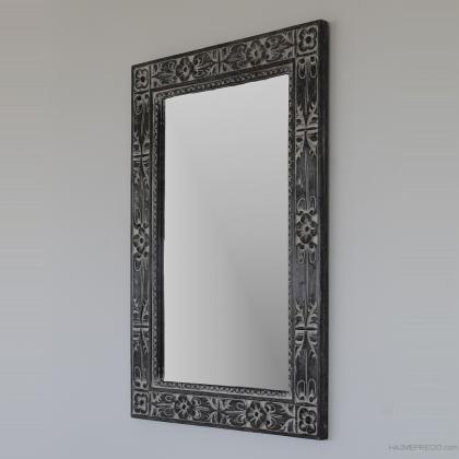 Espejo rustico gris decapado en madera natural tallado a mano , 70x100 rectangular . Su precio 85€