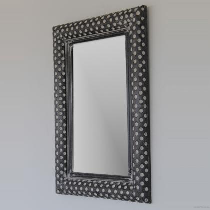 Espejo moderno gris decapado en madera natural y fabricación artesanal , 70x100 rectangular. Su precio 85€
