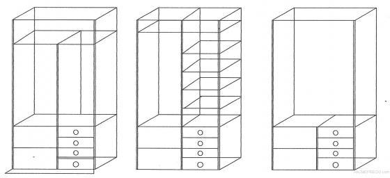 Tres planos de armarios empoptrados