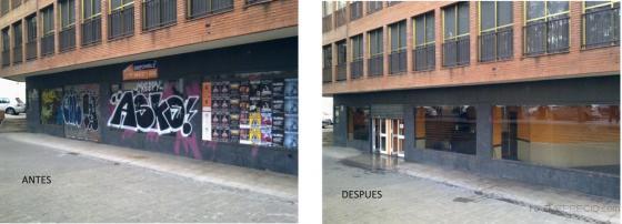 Eliminación de grafitis de fachada