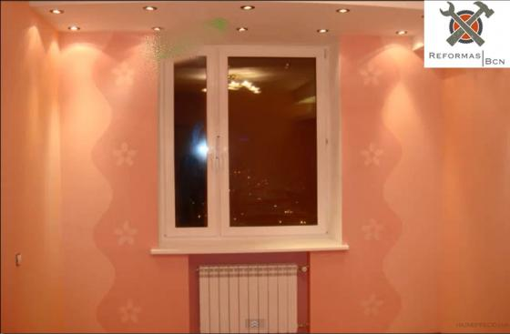 Habitacion: Pladur decorativo , pintura, mas colocacion de ventana de aluminio!
