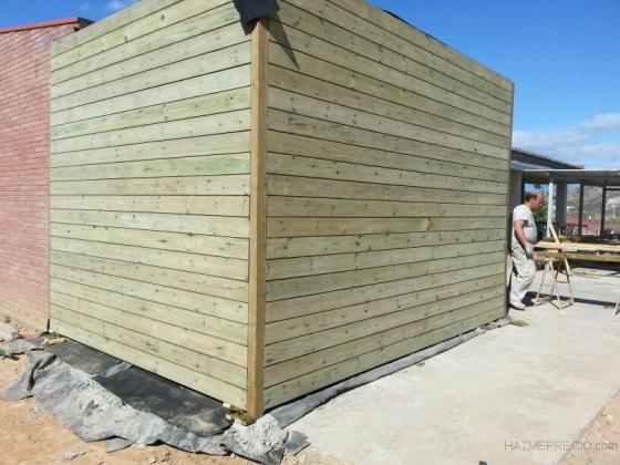 Construcción de vestuario con madera