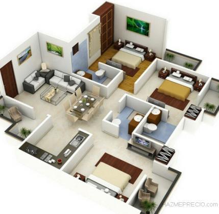 Distribución de una vivienda en 3D