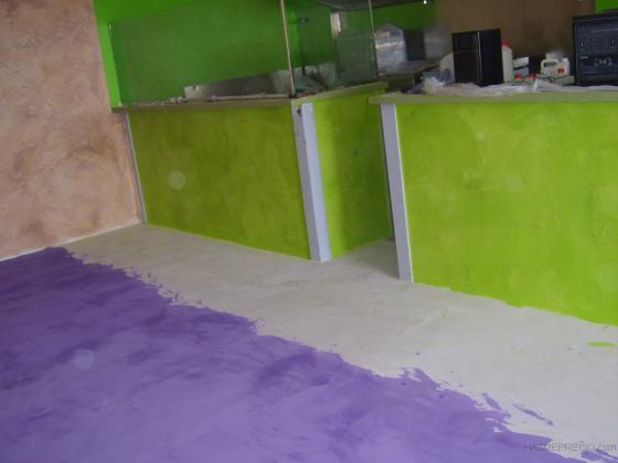 Microcemento verde y violeta