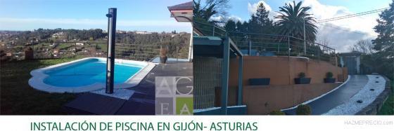 Instalación de piscina en Gijón-Asturias.