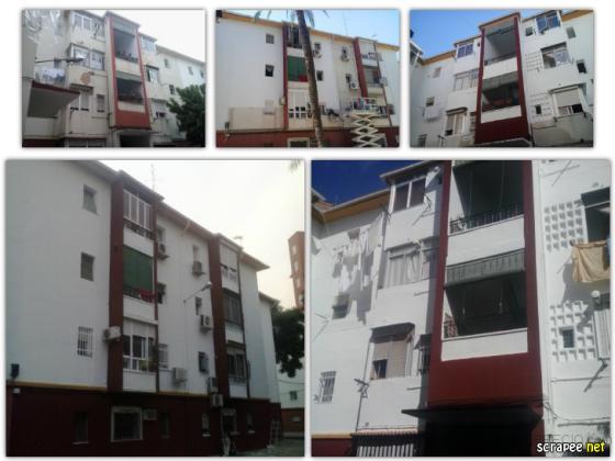 Rehabilitación y pintura en edificio.