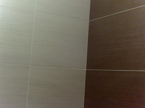 baño con dos colores de azulejo