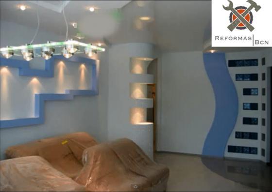Salon de casa : Pladur decorativo , pintura mas suelo de ceramica