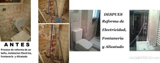 Reforma de baño Fontaneria, electricidad y alicatado