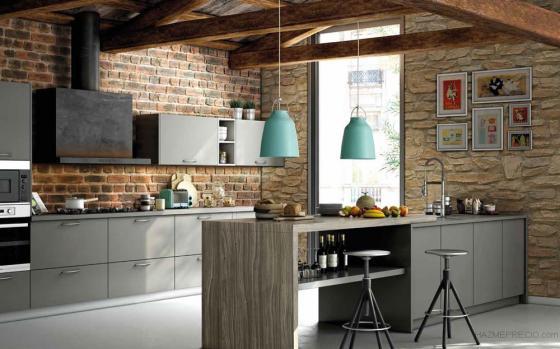 Cocina con paneles de piedra y ladrillo