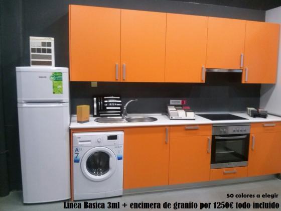 Linea básica de muebles y encimera 1250€ todo incluido.
