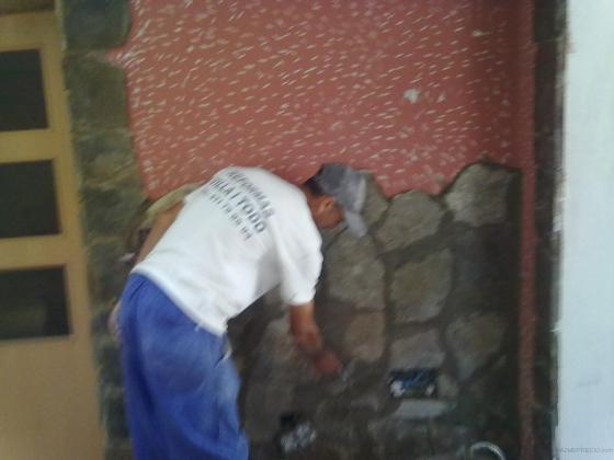 Colocacion piedra natural continuacion de otra pavimento de porcelanato mueble de obra con - Colocacion piedra natural ...