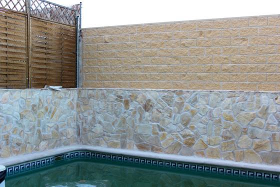 Construccion de muro con bloques de hormigon/Chapado paredes con ...