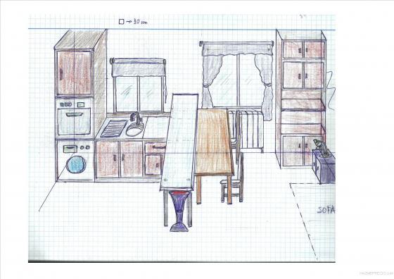 PLANO 3D MANUAL INTEGRACION COCINA COMEDOR , VISTA HACIA PATIO INTERIOR