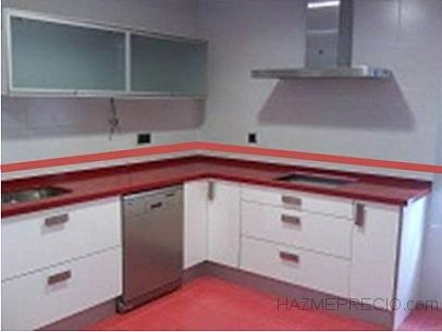 Alicatado de cocina erandio vizcaya for Cocina blanca encimera roja