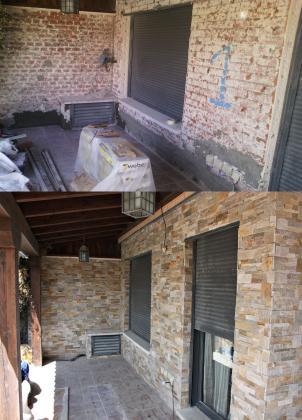 Picado de monocapa en fachada y posteriormente alicatar con lajas de piedra natural.