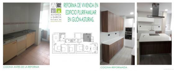 Reforma de vivienda en edificio de viviendas. Gijón.