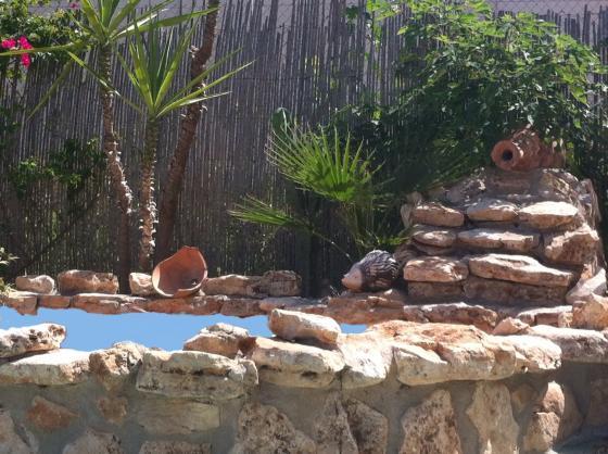 Detalle de fuente en jardín