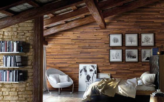 Buhardilla panel de tablas de madera y piedra