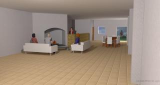Se realizó una idea de distribución interior para apreciar las dimensiones libres interiores.