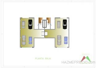 Plano de la planta baja de las dos viviendas