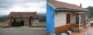 Este es el estado actual que presenta la cubierta de la vivienda. La entrada se realiza mediante un porche cerrado de estructura metálica.
