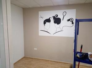 limpieza,restauracion de paredes con plaste de fibra,encintado y empapelado de toda la zona a pintar y cambio de color de paredes con pintura plastica super lavable alta calidad
