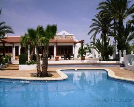 EN la foto podemos ver la piscina del complejo con los detalles de jardineria y las palmeras tipicas de la zona