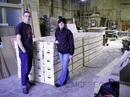 Estas son las Cajas de Sidra de Madera de pino tratadas, antes de entregarselas a nuestro cliente.