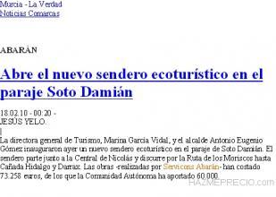Nota de prensa del periódico La Verdad de Murcia