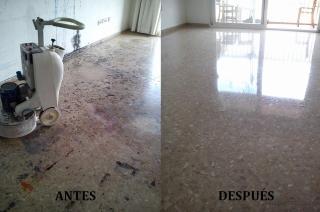 Restauración de pavimento de terrazo. Pulido y Abrillantado con brillo natural.